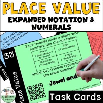 Place Value Math Task Cards TEKS 4.2B and CCSS 4.NBT.A.2