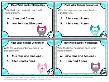 Comparing Numbers Task Cards, Tens and Ones Games, 1st Grade Math Review