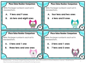 Word Form Place Value Comparing Numbers Task Cards, Tens and Ones Games
