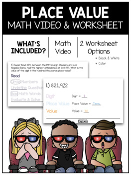 Place Value Math Video & Worksheet