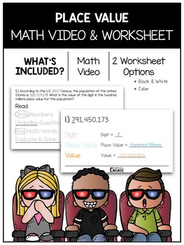 Place Value Math Video and Worksheet