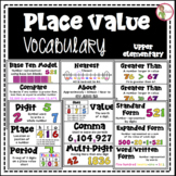 Place Value - Math Vocabulary Cards - Word Wall - Definitions & Illustrations