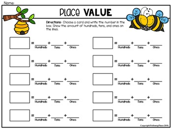 Place Value Mats for Base 10 Blocks: Bees