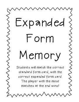 Place Value Memory - Expanded Form