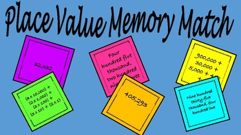 Place Value Memory Match 4th Grade
