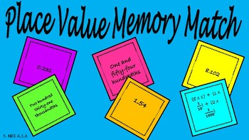 Place Value Memory Match 5th Grade