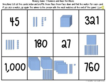 Place Value Memory Match Games