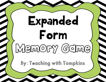 Place Value Memory Math Game