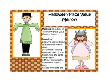 Place Value Memory (Wild West and Halloween Themed)