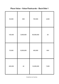 Place Value Mini Flashcards (5 sets: value, rounding...)