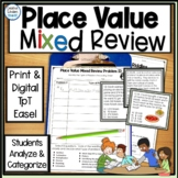 Place Value Mixed Review Multiple Choice Math Word Problems