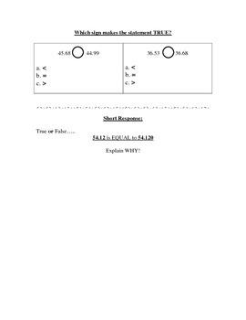 Place Value, Models, Number Forms Test