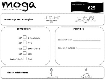 Place Value MOGA: Gr. 3 (Math/Yoga to practice place value)