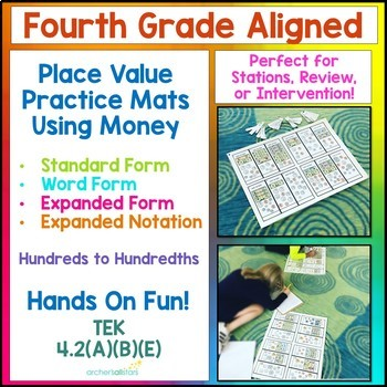 Place Value Money Mats Expanded Standard Word Form using Money