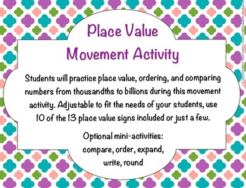 Place Value Movement Activity