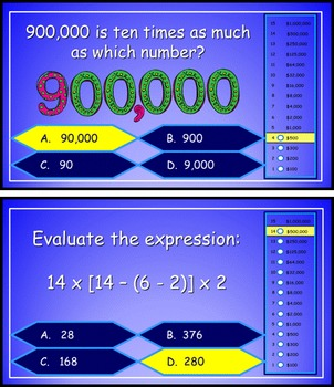 Place Value, Multiplication and Expressions Power Point Millionaire 5th Grade