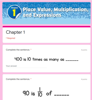 Place Value, Multiplication, and Expressions Test - Go Math 5th Grade Chapter 1