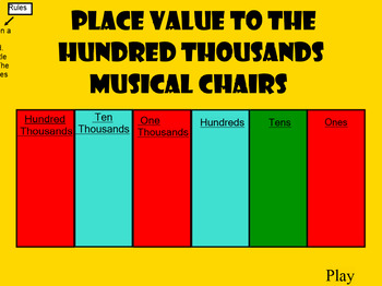 Place Value Musical Chairs to Hundred Thousands Place