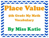 Place Value 5th Grade My Math Vocabulary Posters