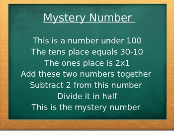 Place Value Myster Number