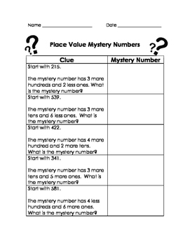 Place Value Mystery Number