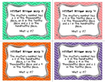 Place Value Mystery Number Cards (Decimals)