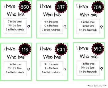 "Place Value Mystery Number ""I Have . . . Who Has?"" Game"