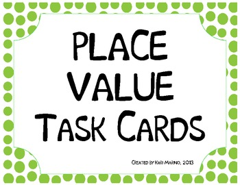 Place Value Mystery Number Task Cards Common Core Aligned