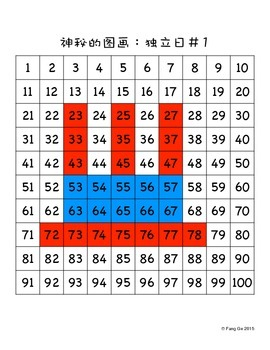 Place Value Mystery Picture - 4th of July (Simplified Chinese)