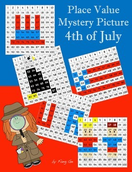 Place Value Mystery Picture - 4th of July (Traditional Chinese)
