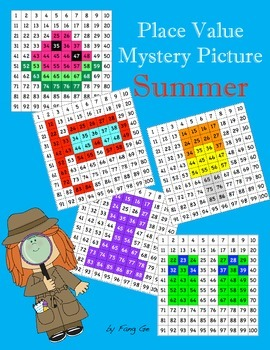 Place Value Mystery Picture - Summer (Traditional Chinese)