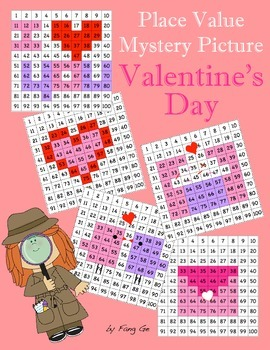 Place Value Mystery Picture - Valentine's Day (Traditional