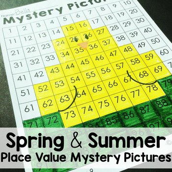 Spring and Summer Place Value Color by Number Mystery Pictures