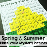 Spring and Summer Math Place Value Color By Number 100's Chart Mystery Pictures