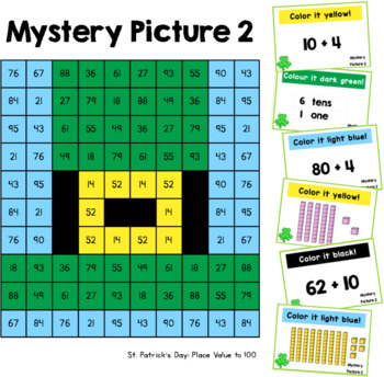 Place Value Mystery Pictures: St Patrick's Day (to 100)