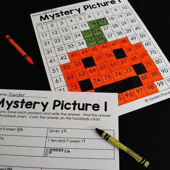 Place Value Color By Number Mystery Pictures Through The Year (Bundle)