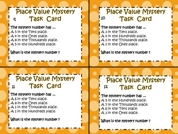 Place Value Mystery Task Cards