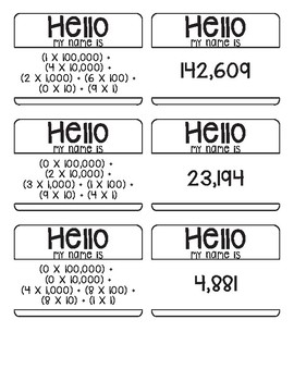 Place Value Name Game