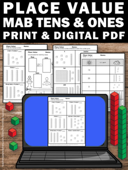 Place Value Tens and Ones Worksheets, 1st Grade Math Review Packet Printables
