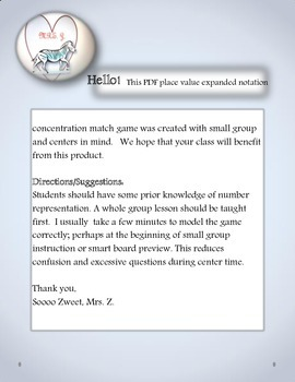 FREE!Math Center-Place Value Expanded Notation Concentration (Match) Game