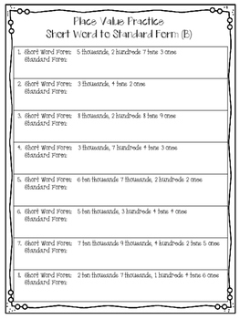Place Value Notes, Practice & Word Problems