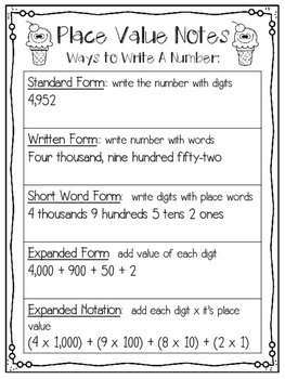 Place Value Notes Practice Amp Word Problems By Learning