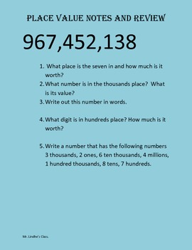 Place Value Notes and Review