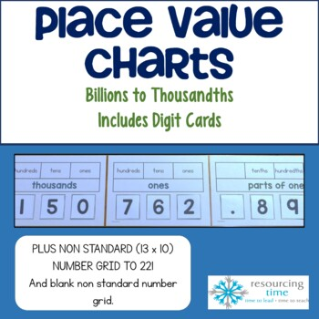 Place Value Number Charts By Resourcing Time Teachers Pay Teachers