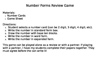 Place Value Number Forms