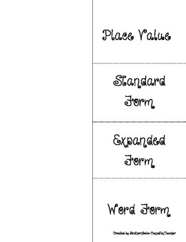 Place Value & Number Forms Flippable
