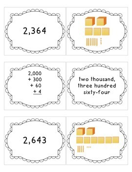 Place Value Number Forms Memory Match Game
