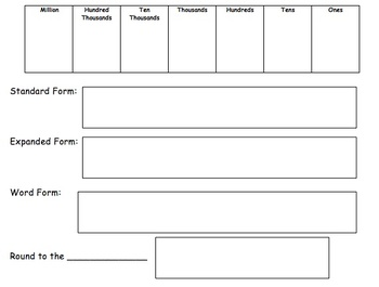 Place Value, Number Forms, and Rounding Work Mat