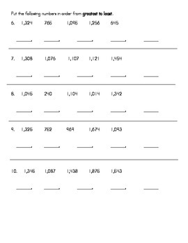 Place Value Number Order to the Thousands