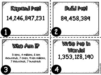 4.2B Place Value Number Representation Task Cards -  4th grade